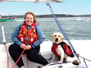 Mylor assistance dog on sailing boat