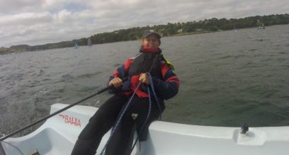 Mel Mullen a dinghy instructor at Mylor sailing school near Falmouth Cornwall