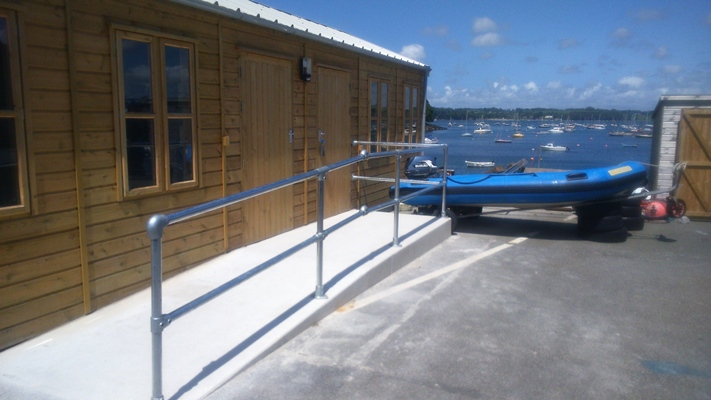 ramped access to a classroom at Mylor Sailing school in Falmouth, Cornwall