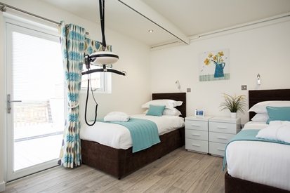 Inside one of the bedrooms for Accessible accommodation self catering lodge at Gwel An Mor Portreath Cornwall