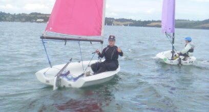 Girl sailing a Pico at Mylor Sailing School Falmouth Cornwall