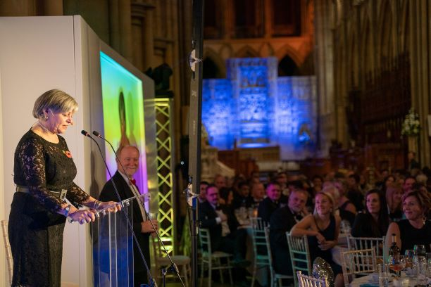 Cornwall Tourism Awards Truro Cathedral Daphne Skinner the MC of the evening 2019
