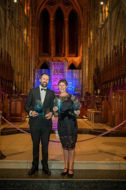 Tracey Boyne of Mylor Sailing School with 4 awards at Truro Cathedral 2019