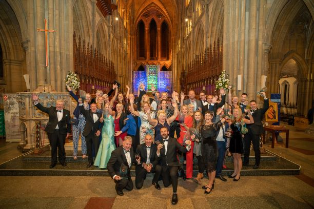 Cornwall Tourism Awards group of winners at Truro Cathedral 2019