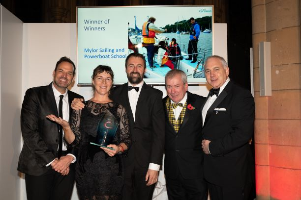 Tracey Boyne being crowned Winner of Winners at the 2019 Cornwall Tourism Awards