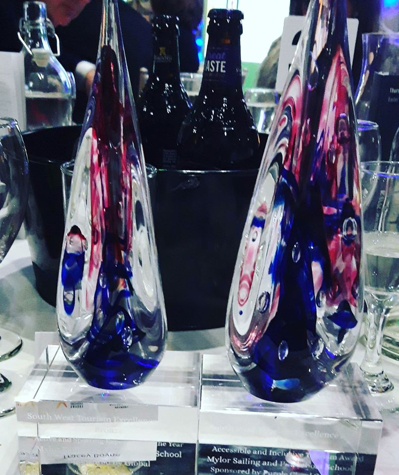 Two glass awards on the table